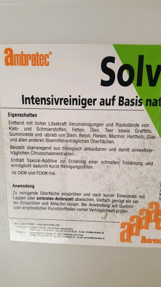 AMBRATEC SOLVATEC flüssig Ca. 12 Liter Profi-Intensivreiniger !!! in Rostock