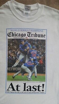 New Chicago Cubs World Series Champions Chicago Tribune Newspaper Shirt Roster