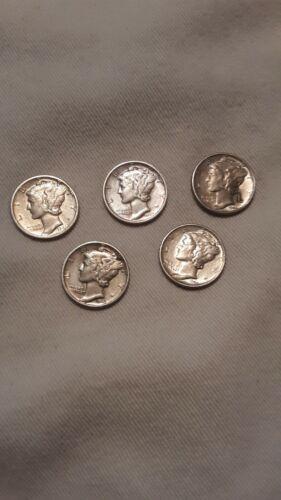 Mercury Dimes 5 Each 1943p-2 1944s-2 1945s-1 - $12.00