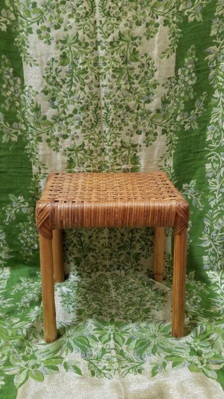 vintage rattan footstool