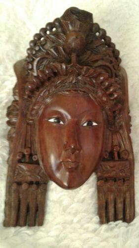 """Vintage Rosewood Hand-carved Mask - TIBETAN EMPRESS 8.5""""x6"""""""