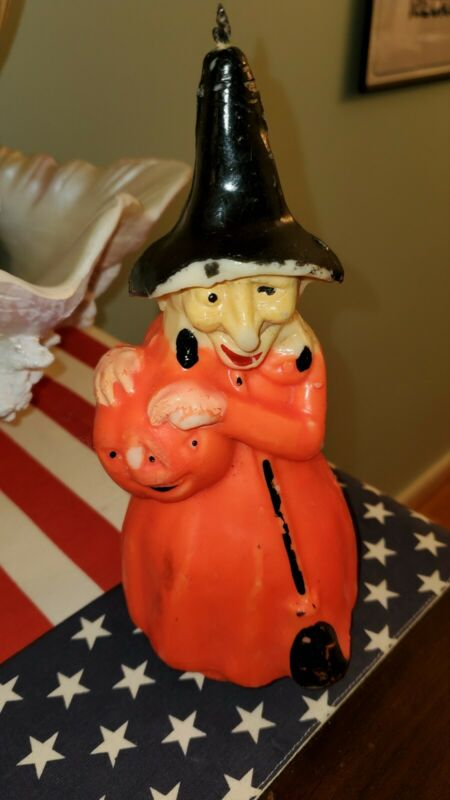 "Vintage 60s GURLEY 8 1/4"" Candle HALLOWEEN WITCH with PUMPKIN & BROOM unused"