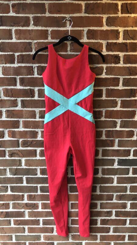 Red & Aqua Blue Unitard Catsuit Adult Small S NWOT Dance Workout Costume Leotard