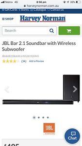 JBL SOUNDBAR AND WIRELESS SUBWOOFER