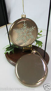 Pretty-Pair-of-Glass-Cocoa-Powder-Christmas-Ornaments-w-Snowflake-Design