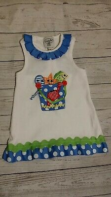 Mud Pie 12-18 Month Tunic Dress Beach Crab Star Fish Ribbon Gingham Applique