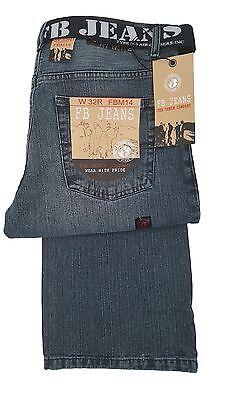 Mens FBM Relaxed Fit Bootcut Fashion Jeans fbm 14 - Mid Stonewash Denim  ()