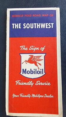 1954 Southwest Road Map Magnolia   Oil  Gas Socony Vacuum Texas Oklahoma Nm
