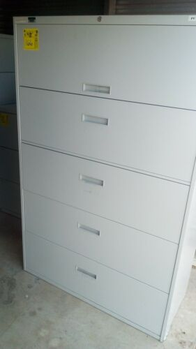 5 Drawer Lateral Filing Cabinets Home Office Commercial Storage GOOD Condition
