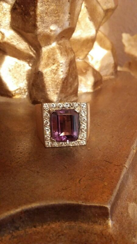 Beautiful 8 Carat Purple Amethyst W/1.20 Ctw Diamond 14ky Gold Men
