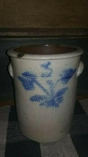 """Antique Primitive Cobalt 3 Gallon Floral Crock Unique Shape 12"""" T Incised"""