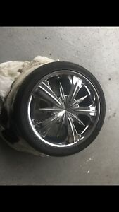 4 Low profile tires with rims.