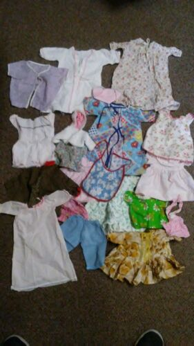 Mixed Lot Of Vintage Doll & Baby Clothes Store Bought & Handmade  Dresses Etc #