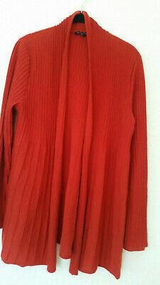 Eileen Fisher Cardigan Sweater 100% Red Wool Italian Yarn Sz L Lagenlook NWOT