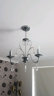 Chrome & Crystal Chandelier / Pendant / Light