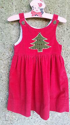 Kelly's Kids Toddler Girl's Dress Size 2 Red Corduroy Christmas Jumper