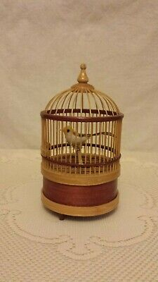 vtg hand crafted decor wood bamboo bird cage w/ bird chirping & motion wind-up