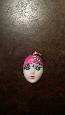 ADAGIO PINK PORCELAIN HAND PAINTED WOMAN FACE PENDANT FREE -