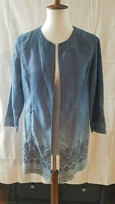 Chicos Chico's Light Jacket Size 1 M/8 Petite Denim Blue Embroidery Ombre