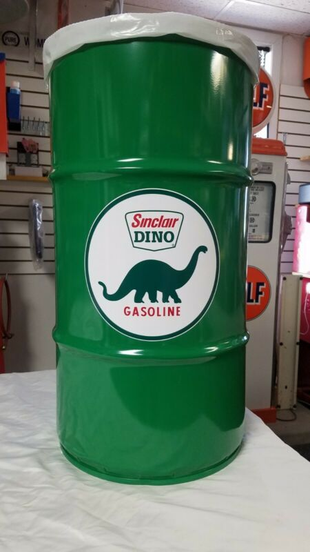 SINCLAIR DINO 40S 50S 60S VINTAGE STYLE 16 GALLON COLD ROLLED STEEL TRASH CAN