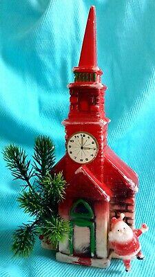 VTG CHRISTMAS PLASTIC BLOW MOLD CHURCH WITH SANTA & GREENERY MADE IN HONG KONG
