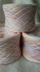Wollpaket,Lace,Strickwolle,Sockenwolle,500g,BW/Acryl/Seide,weiß/rot-gelbverlauf