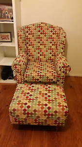Arm chair with foot stool Woodbine Campbelltown Area Preview