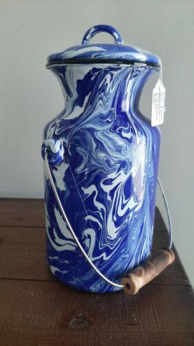 Blue Swirl Graniteware Milk Can with Lid