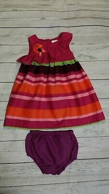 Gymboree 12-18 Month Tropical Bird Ruffle Dress Purple Striped High Summer