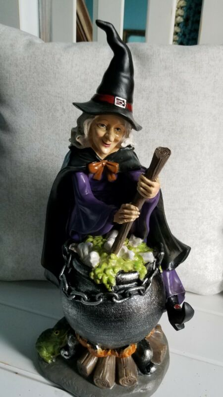 A Bewitching Bethany Lowe Inspired Halloween Witch with Cauldron, Broom & Frog