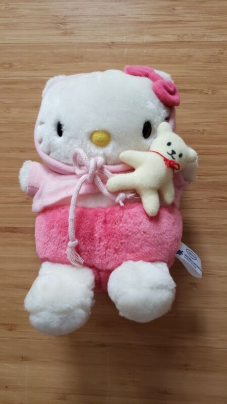 Sanrio Hello Kitty 1997 Plush with Teddy Bear Soft Japan Excellent Condition