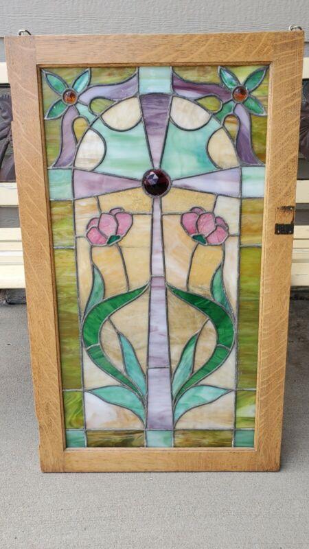 "Handmade Stained Glass Cross Jeweled on Old Vintage  Window 19 3/4"" x 33.5"" Nice"