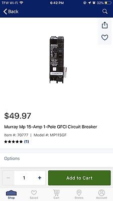 Murray Mp115gfp 15 Amp 1 Pole Mp-gt Gfci Circuit Breaker Ground Fault New