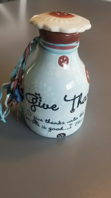"""Decorative Christian Inspirational Quote/Scripture Corked Bottle 4.5""""Give Thanks"""
