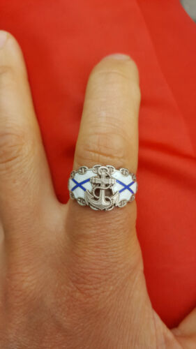 Russia Russian Imperial Navy Marine Enamel 84 Silver ring