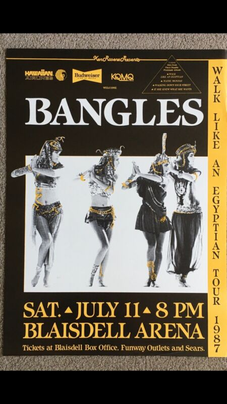 THE BANGLES 1987 ORIGINAL HAWAII CONCERT POSTER WALK LIKE AN EGYPTIAN TOUR 🎫