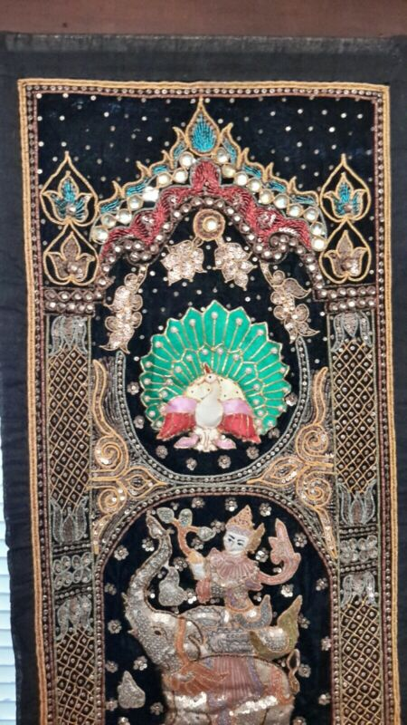 Vintage Thai Burmese TAPESTRY Hand Embroidered Jeweled Wall Hanging