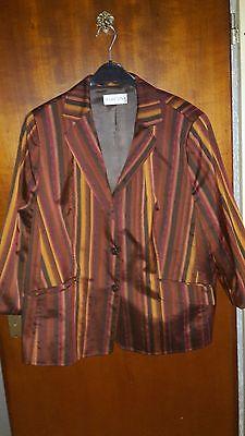 Damen Jacke von Marcona, Gr. 48, Langarm, gefüttert, braun/rot gestreift ()