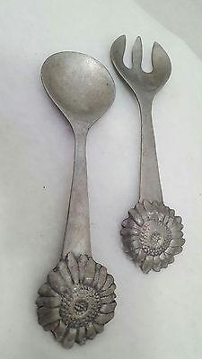 1992 Vintage Mariposa Metalware 10-1/2 inch Sun Flower Salad Fork Spoon -
