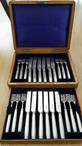 Sterling Silver Cutlery Boxed Set of Fruit Knives and Forks - 12 Places