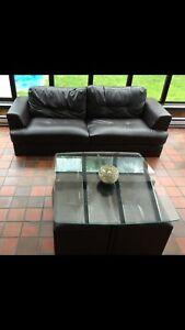 Brown Simili leather and table