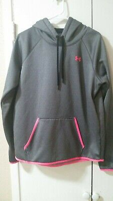 Under Armour Cold Gear WOMENS HOODIE PULLOVER Gray/ Pink, Size Large L, EUC!