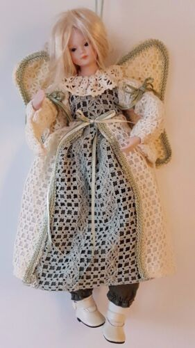 """Crochet Blonde Haired Angel Doll Ceramic Head & Arms Cloth Body 15"""""""