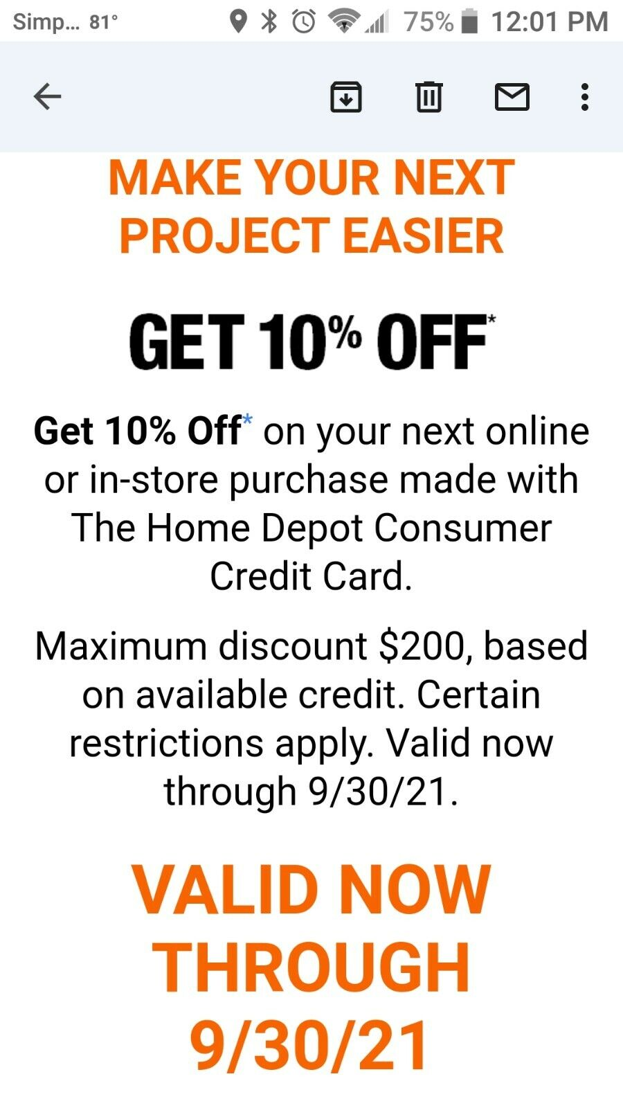 Home Depot 10 Off Coupon Online/in-store W/ Home Depot Credit Card, Exp 9/30/21 - $39.89