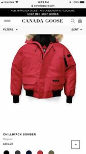 Canada goose red bomber jacket XL