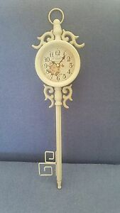 New Shabby Chic Cream Coloured  Metal  Key Wall Clock...SAVE  £5.00...WAS £15.99