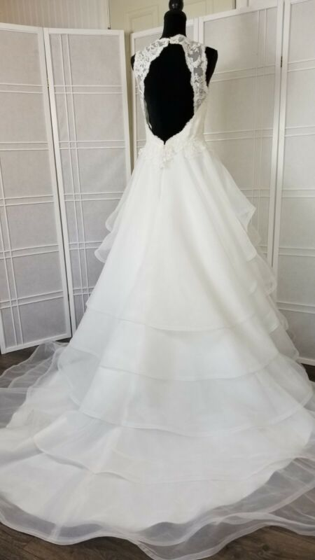 wedding dress size 12 color  natural lace motifs on the bodice  Paloma blanca