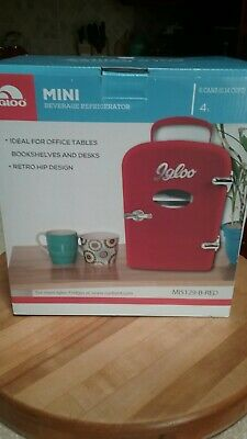 Igloo Mini Retro Beverage Refrigerator Fridge, Red holds 6 cans NEW MIS129-B-RED