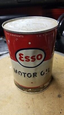 ESSO MOTOR OIL One Quart Metal Can.   --   FULL UNOPENED
