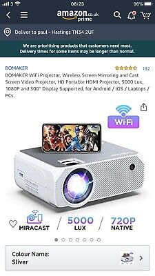 BOMAKER Video Projector 4800 Lux Wireless Screen Mirroring Portable